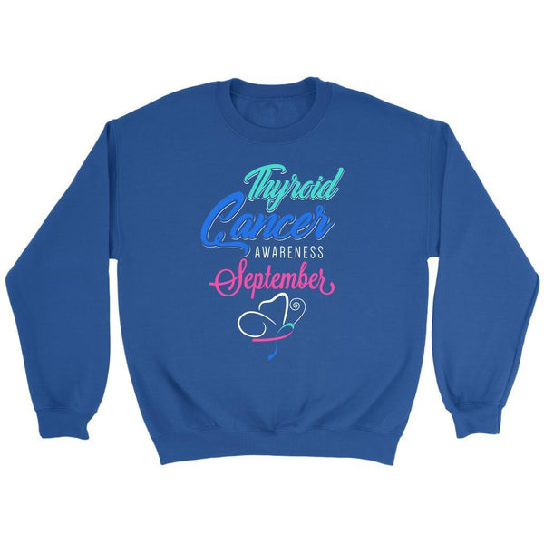 Thyroid Cancer Awareness September Teal Pink & Blue Ribbon Awesome Gift Sweater-T-shirt-Crewneck Sweatshirt-Royal Blue-JoyHip.Com