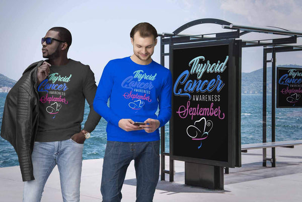 Thyroid Cancer Awareness September Teal Pink & Blue Ribbon Awesome Gift Sweater-T-shirt-JoyHip.Com