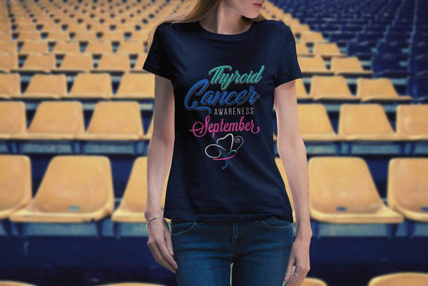 Thyroid Cancer Awareness September Teal Pink & Blue Ribbon Awesome Women TShirt-T-shirt-JoyHip.Com