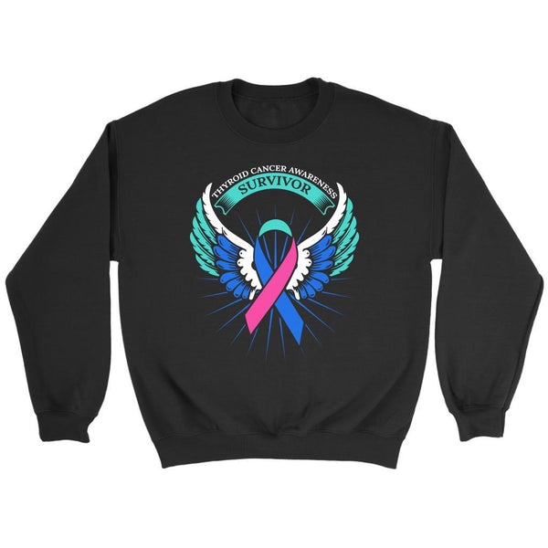 Thyroid Cancer Awareness Survivor Teal Pink & Blue Ribbon Awareness Gift Sweater-T-shirt-Crewneck Sweatshirt-Black-JoyHip.Com