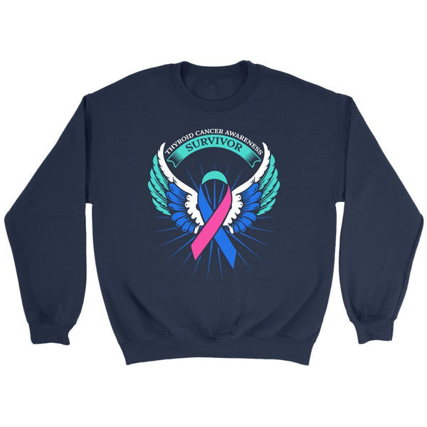 Thyroid Cancer Awareness Survivor Teal Pink & Blue Ribbon Awareness Gift Sweater-T-shirt-Crewneck Sweatshirt-Navy-JoyHip.Com