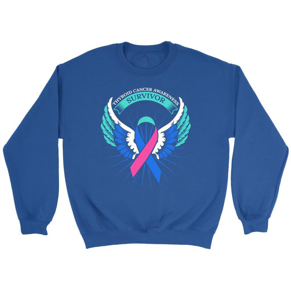 Thyroid Cancer Awareness Survivor Teal Pink & Blue Ribbon Awareness Gift Sweater-T-shirt-Crewneck Sweatshirt-Royal Blue-JoyHip.Com