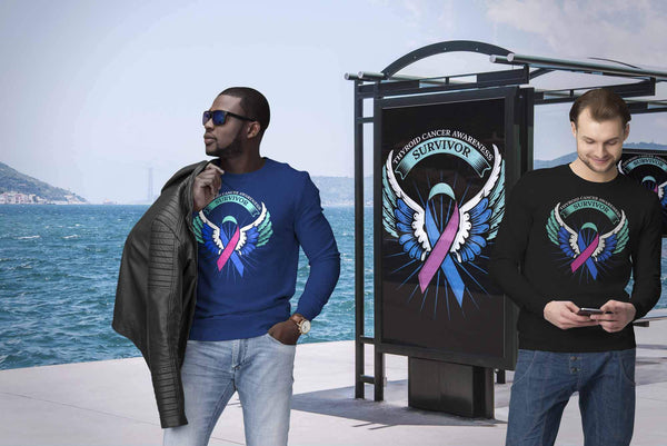 Thyroid Cancer Awareness Survivor Teal Pink & Blue Ribbon Awareness Gift Sweater-T-shirt-JoyHip.Com