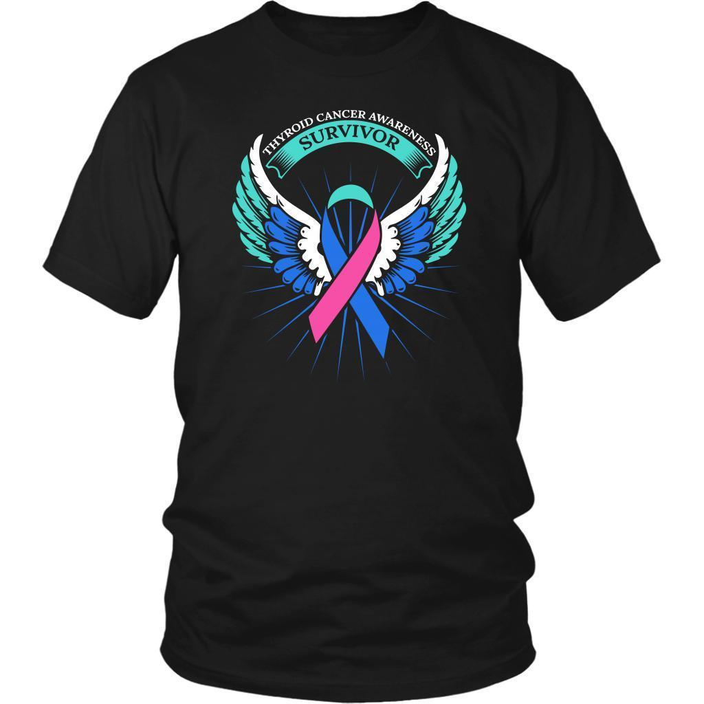 Thyroid Cancer Awareness Survivor Teal Pink & Blue Ribbon Awareness Gift TShirt-T-shirt-District Unisex Shirt-Black-JoyHip.Com