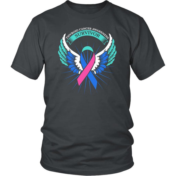 Thyroid Cancer Awareness Survivor Teal Pink & Blue Ribbon Awareness Gift TShirt-T-shirt-District Unisex Shirt-Grey-JoyHip.Com