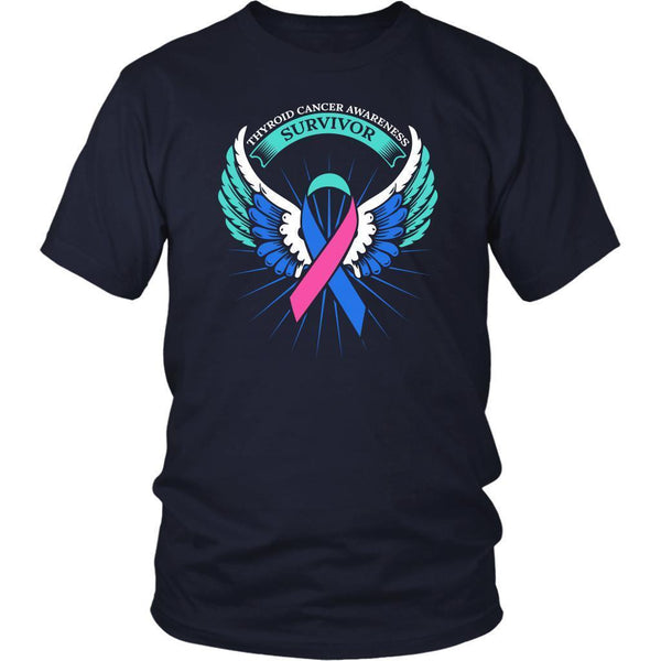 Thyroid Cancer Awareness Survivor Teal Pink & Blue Ribbon Awareness Gift TShirt-T-shirt-District Unisex Shirt-Navy-JoyHip.Com