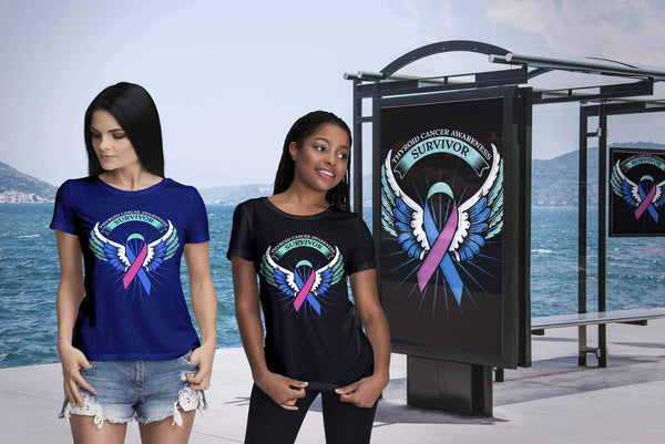 Thyroid Cancer Awareness Survivor Teal Pink & Blue Ribbon Awareness Gift TShirt-T-shirt-JoyHip.Com