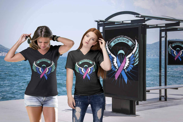 Thyroid Cancer Awareness Survivor Teal Pink & Blue Ribbon Cool Gift VNeck TShirt-T-shirt-JoyHip.Com