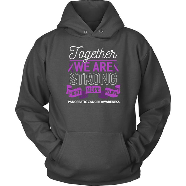 Together We Are Strong Fight Hope Believe Pancreatic Cancer Gift Hoodie-T-shirt-Unisex Hoodie-Grey-JoyHip.Com