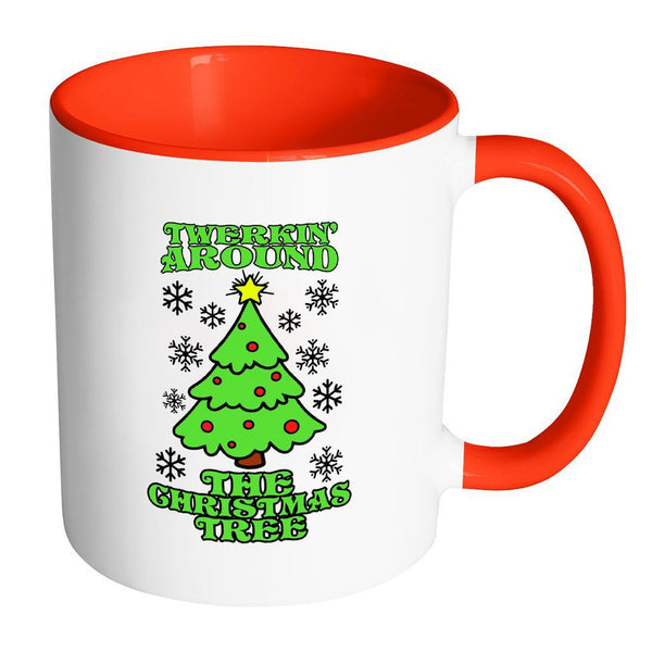 Twerking Around the Christmas Tree Festive Funny Ugly Christmas Holiday Sweater 11oz Accent Coffee Mug (7 Colors)-Drinkware-Accent Mug - Red-JoyHip.Com