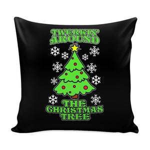 Twerking Around the Christmas Tree Festive Funny Ugly Christmas Holiday Sweater Decorative Throw Pillow Cases Cover(4 Colors)-Pillows-Black-JoyHip.Com