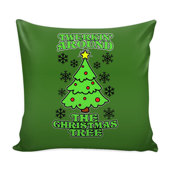 Twerking Around the Christmas Tree Festive Funny Ugly Christmas Holiday Sweater Decorative Throw Pillow Cases Cover(4 Colors)-Pillows-Green-JoyHip.Com