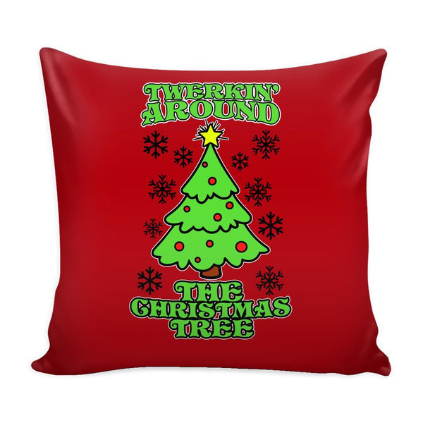 Twerking Around the Christmas Tree Festive Funny Ugly Christmas Holiday Sweater Decorative Throw Pillow Cases Cover(4 Colors)-Pillows-Red-JoyHip.Com