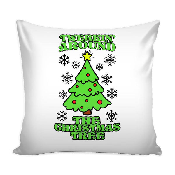 Twerking Around the Christmas Tree Festive Funny Ugly Christmas Holiday Sweater Decorative Throw Pillow Cases Cover(4 Colors)-Pillows-White-JoyHip.Com