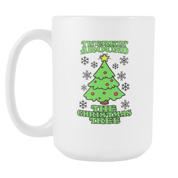 Twerking Around the Christmas Tree Festive Funny Ugly Christmas Holiday Sweater White 15oz Coffee Mug-Drinkware-Ugly Christmas Sweater White 15oz Coffee Mug-JoyHip.Com