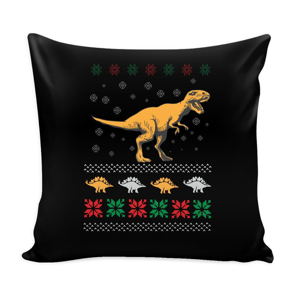 Unique Dinosaur T-Rex Jurassic Funny Festive Ugly Christmas Holiday Sweater Decorative Throw Pillow Cases Cover(4 Colors)-Pillows-Black-JoyHip.Com