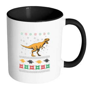Unique Dinosaur T-Rex Jurassic Funny Ugly Christmas Holiday Sweater 11oz Accent Coffee Mug (7 Colors)-Drinkware-Accent Mug - Black-JoyHip.Com