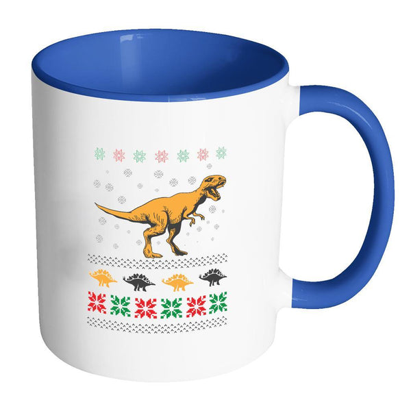 Unique Dinosaur T-Rex Jurassic Funny Ugly Christmas Holiday Sweater 11oz Accent Coffee Mug (7 Colors)-Drinkware-Accent Mug - Blue-JoyHip.Com