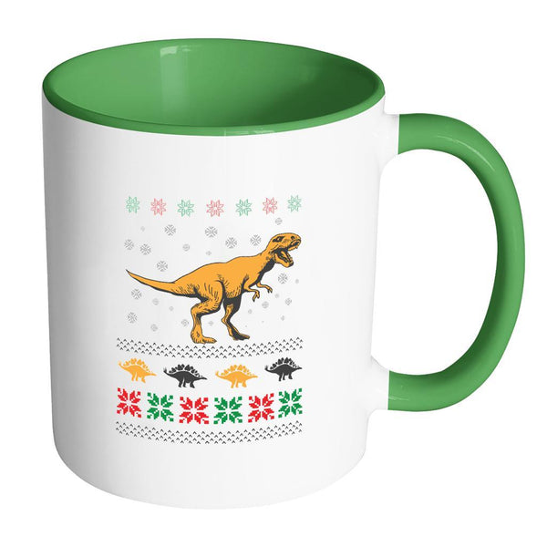 Unique Dinosaur T-Rex Jurassic Funny Ugly Christmas Holiday Sweater 11oz Accent Coffee Mug (7 Colors)-Drinkware-Accent Mug - Green-JoyHip.Com