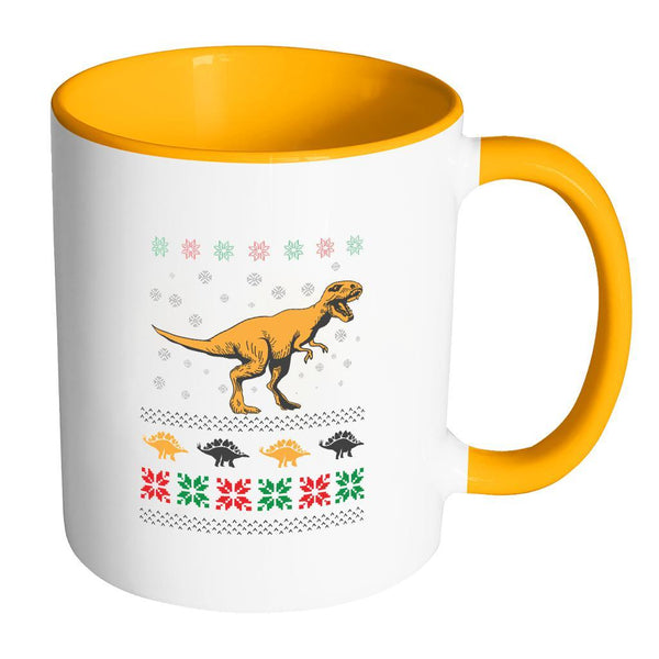 Unique Dinosaur T-Rex Jurassic Funny Ugly Christmas Holiday Sweater 11oz Accent Coffee Mug (7 Colors)-Drinkware-Accent Mug - Orange-JoyHip.Com