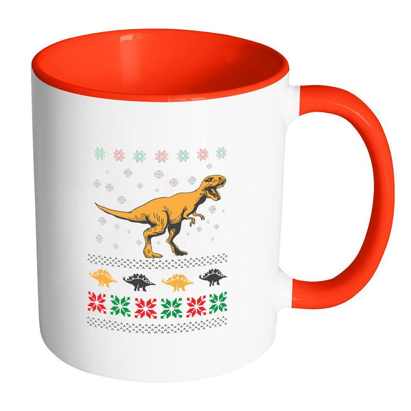 Unique Dinosaur T-Rex Jurassic Funny Ugly Christmas Holiday Sweater 11oz Accent Coffee Mug (7 Colors)-Drinkware-Accent Mug - Red-JoyHip.Com