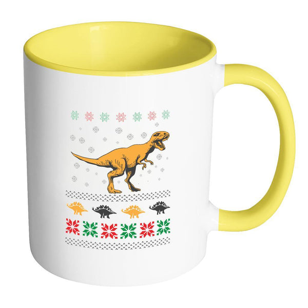 Unique Dinosaur T-Rex Jurassic Funny Ugly Christmas Holiday Sweater 11oz Accent Coffee Mug (7 Colors)-Drinkware-Accent Mug - Yellow-JoyHip.Com