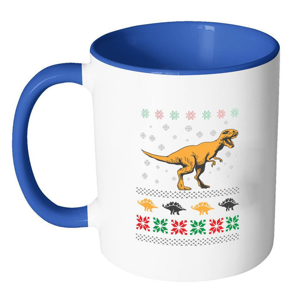 Unique Dinosaur T-Rex Jurassic Funny Ugly Christmas Holiday Sweater 11oz Accent Coffee Mug (7 Colors)-Drinkware-JoyHip.Com