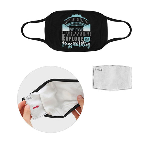 Until You Cross You Cant Begin Explore Possibilities Washable Reusable Face Mask-Face Mask-S-Black-JoyHip.Com