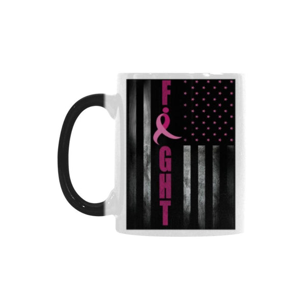 USA Flag Fight Breast Cancer Awareness Pink Ribbon Color Changing/Morphing 11oz Coffee Mug-Morphing Mug-One Size-JoyHip.Com