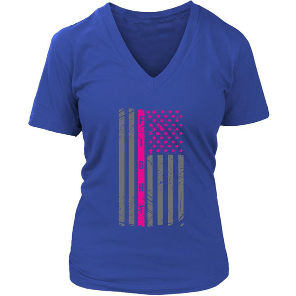 Vintage Patriotic USA Flag Fight Breast Cancer Awareness Gift Ideas VNeck TShirt-T-shirt-District Womens V-Neck-Royal Blue-JoyHip.Com