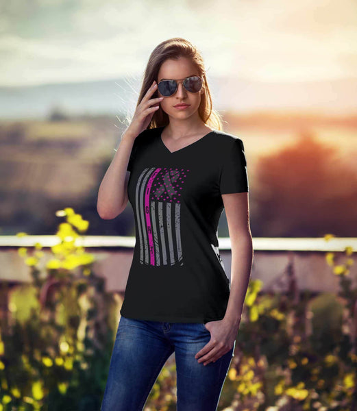 Vintage Patriotic USA Flag Fight Breast Cancer Awareness Gift Ideas VNeck TShirt-T-shirt-JoyHip.Com