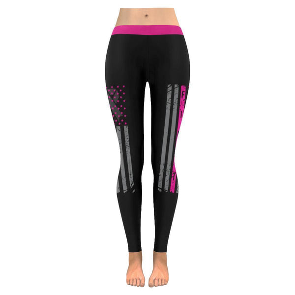 Vintage USA Flag Fight Breast Cancer Awareness Pink Ribbon UPF40+ Women Leggings-JoyHip.Com