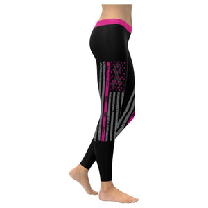 Vintage USA Flag Fight Breast Cancer Awareness Pink Ribbon UPF40+ Women Leggings-XXS-Black-JoyHip.Com