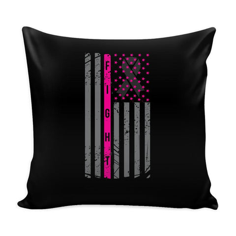 Vintage USA Flag Fight V2 Cool Awesome Unique Breast Cancer Awareness Pink Ribbon Decorative Throw Pillow Cases Cover(9 Colors)-Pillows-Black-JoyHip.Com