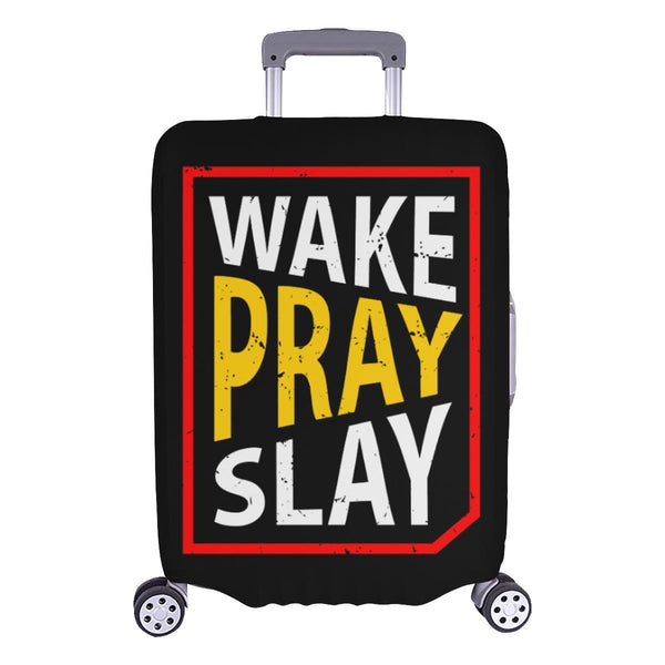 Wake Pray Slay Christian Travel Luggage Cover Suitcase Protector Fits 18-28 Inch-L-Black-JoyHip.Com