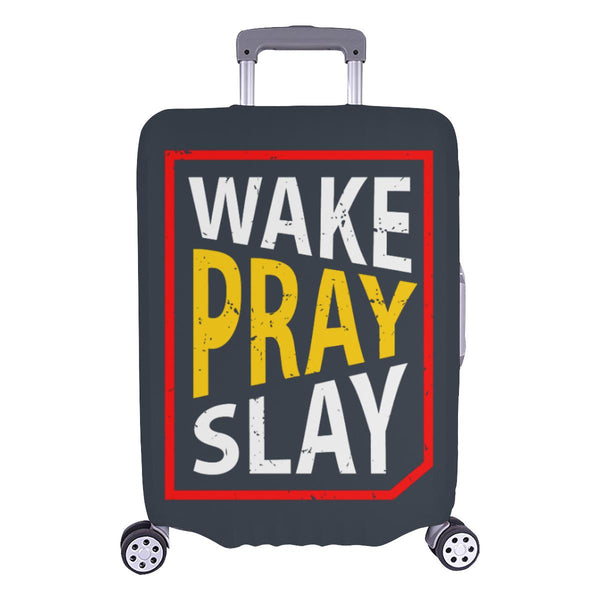Wake Pray Slay Christian Travel Luggage Cover Suitcase Protector Fits 18-28 Inch-L-Grey-JoyHip.Com
