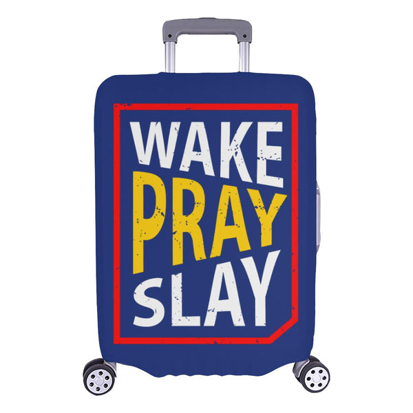 Wake Pray Slay Christian Travel Luggage Cover Suitcase Protector Fits 18-28 Inch-L-Navy-JoyHip.Com