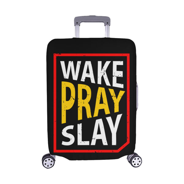 Wake Pray Slay Christian Travel Luggage Cover Suitcase Protector Fits 18-28 Inch-M-Black-JoyHip.Com