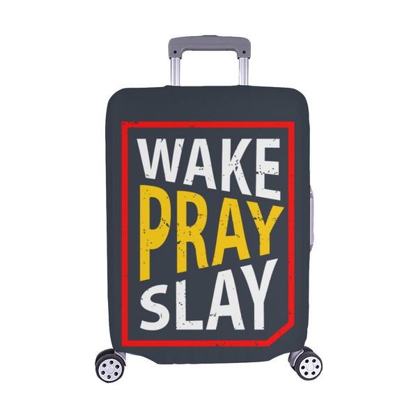 Wake Pray Slay Christian Travel Luggage Cover Suitcase Protector Fits 18-28 Inch-M-Grey-JoyHip.Com