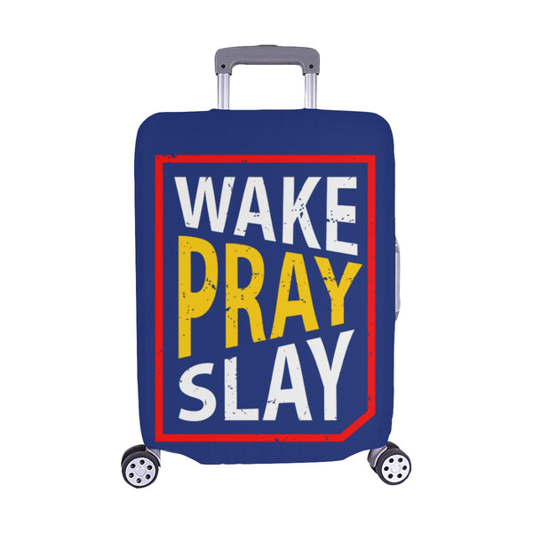 Wake Pray Slay Christian Travel Luggage Cover Suitcase Protector Fits 18-28 Inch-M-Navy-JoyHip.Com
