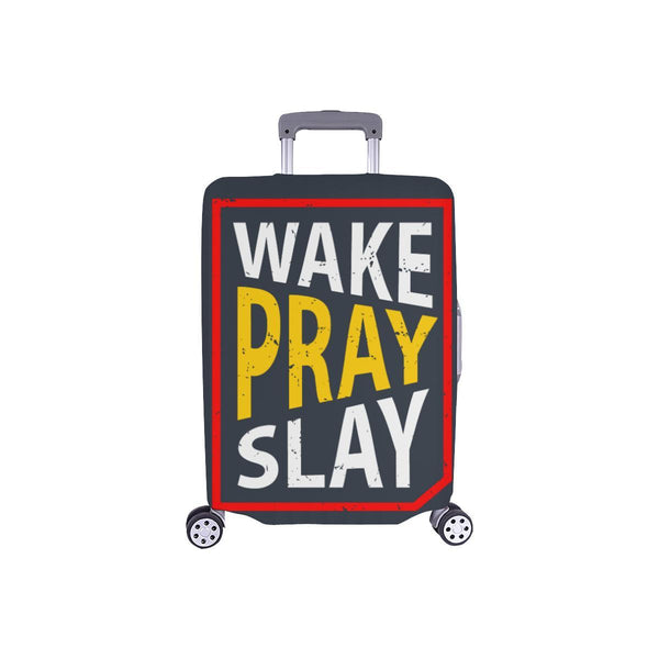 Wake Pray Slay Christian Travel Luggage Cover Suitcase Protector Fits 18-28 Inch-S-Grey-JoyHip.Com