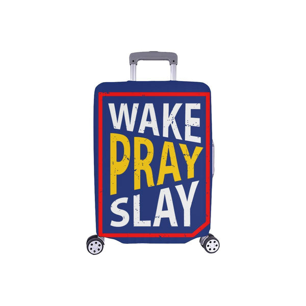 Wake Pray Slay Christian Travel Luggage Cover Suitcase Protector Fits 18-28 Inch-S-Navy-JoyHip.Com