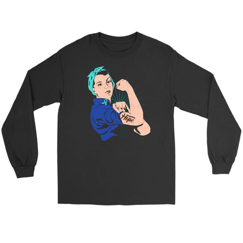 We Can Do It Rosie Hope Ovarian Cancer Awareness Long Sleeve T-Shirt-T-shirt-Gildan Long Sleeve Tee-Black-JoyHip.Com
