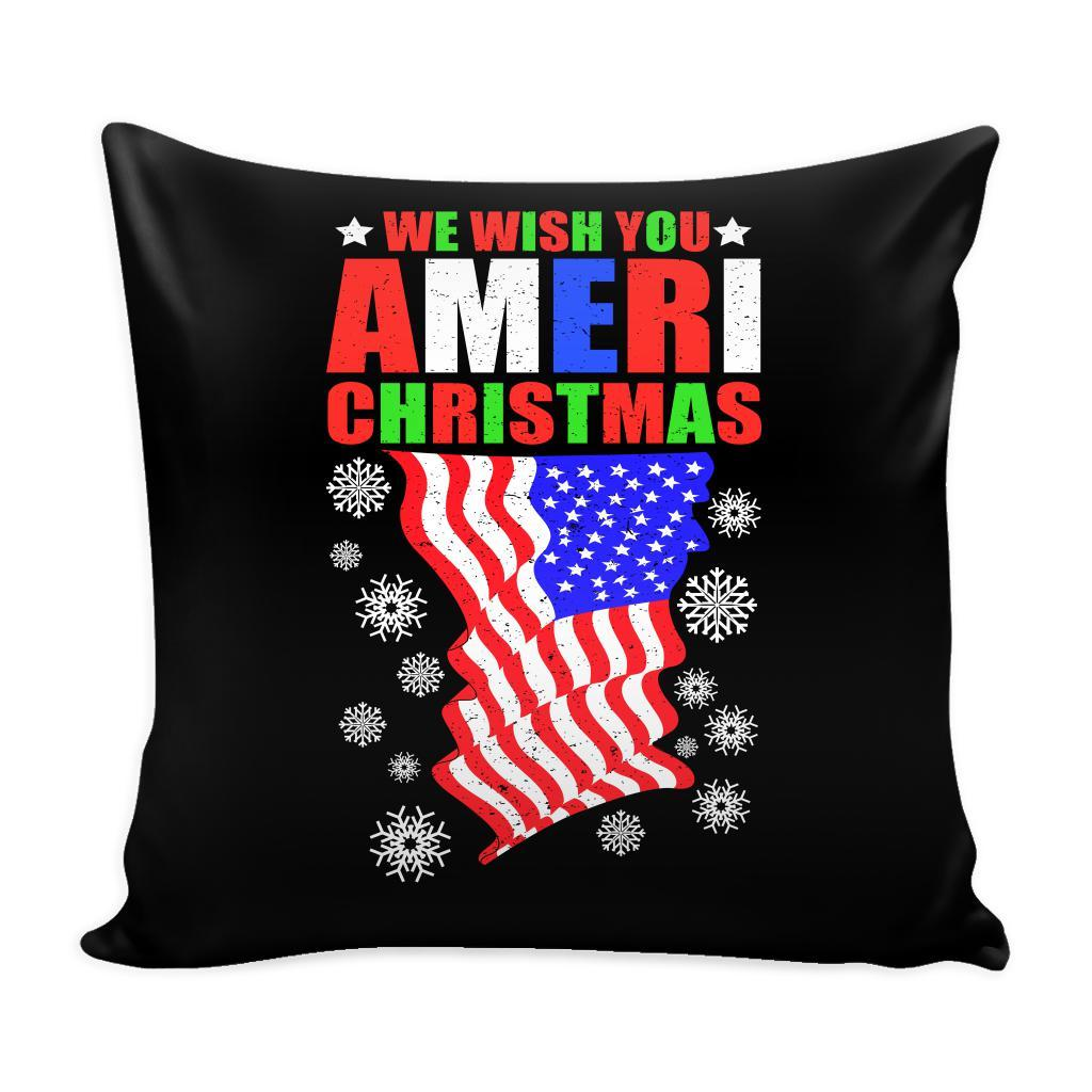 We Wish You Ameri Christmas USA Patriotic Festive Funny Ugly Christmas Holiday Sweater Decorative Throw Pillow Cases Cover(4 Colors)-Pillows-Black-JoyHip.Com