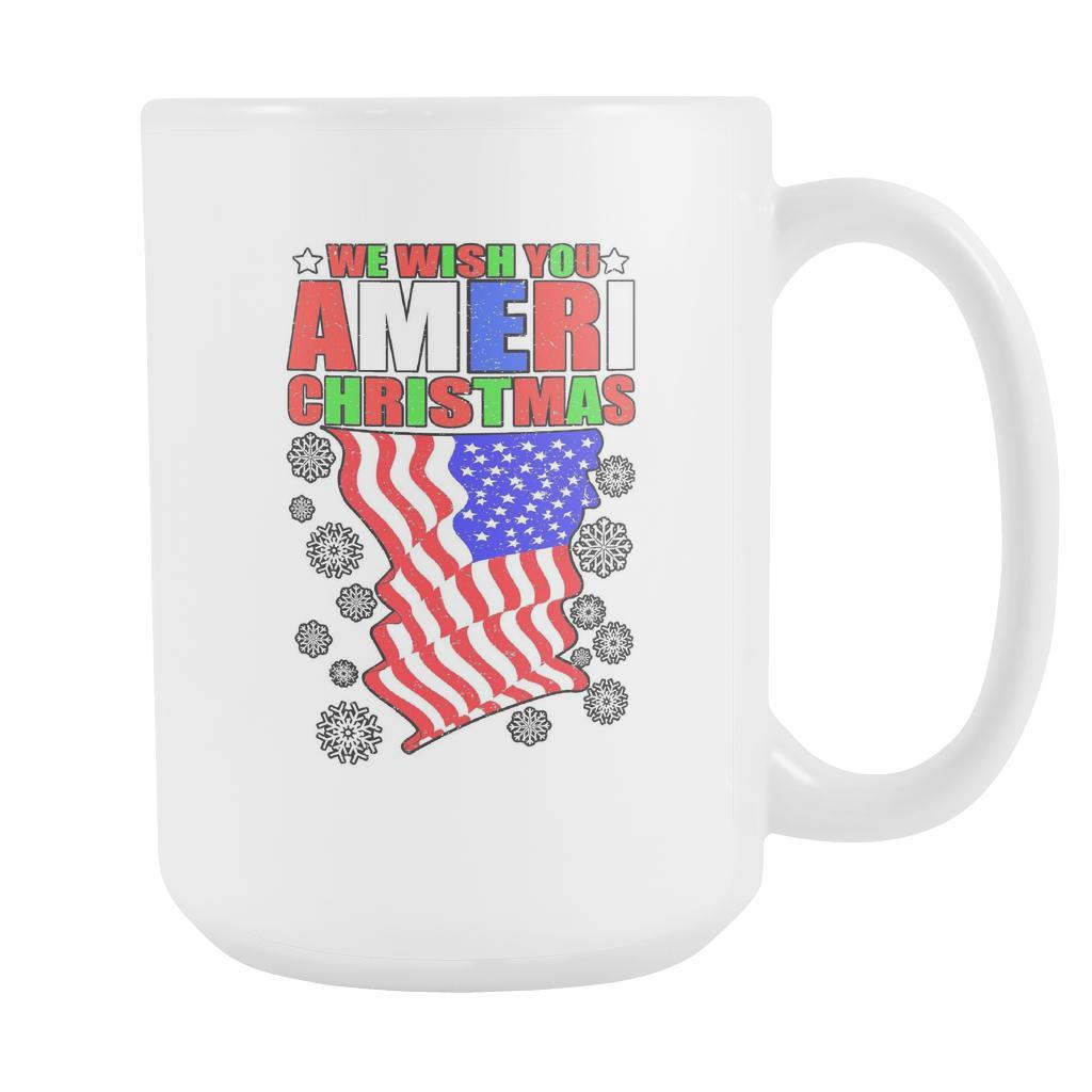 We Wish You Ameri Christmas USA Patriotic Festive Funny Ugly Christmas Holiday Sweater White 15oz Coffee Mug-Drinkware-Ugly Christmas Sweater White 15oz Coffee Mug-JoyHip.Com