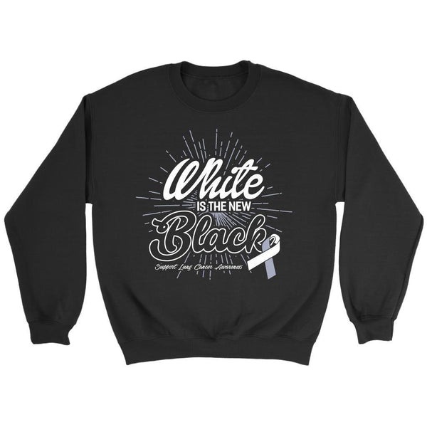 White Is The New Black Support Lung Cancer Awareness Gift Sweater-T-shirt-Crewneck Sweatshirt-Black-JoyHip.Com