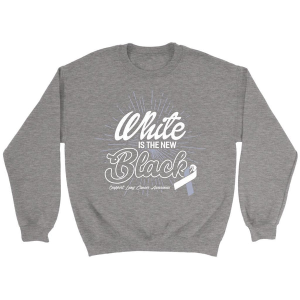 White Is The New Black Support Lung Cancer Awareness Gift Sweater-T-shirt-Crewneck Sweatshirt-Grey-JoyHip.Com