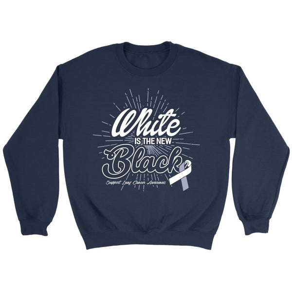 White Is The New Black Support Lung Cancer Awareness Gift Sweater-T-shirt-Crewneck Sweatshirt-Navy-JoyHip.Com
