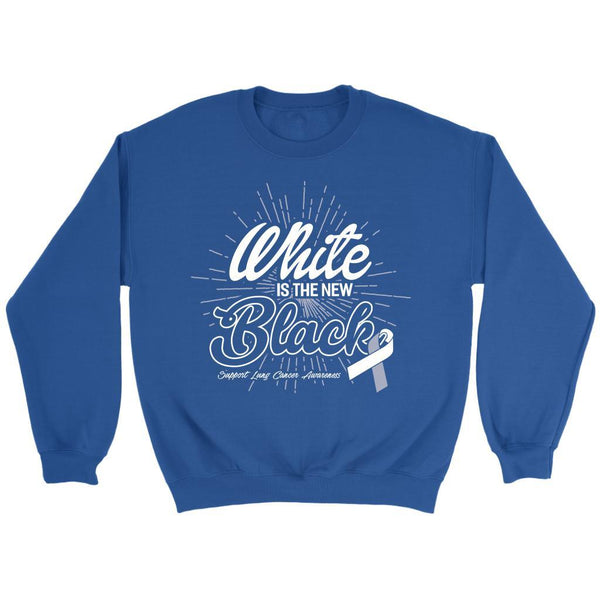 White Is The New Black Support Lung Cancer Awareness Gift Sweater-T-shirt-Crewneck Sweatshirt-Royal Blue-JoyHip.Com