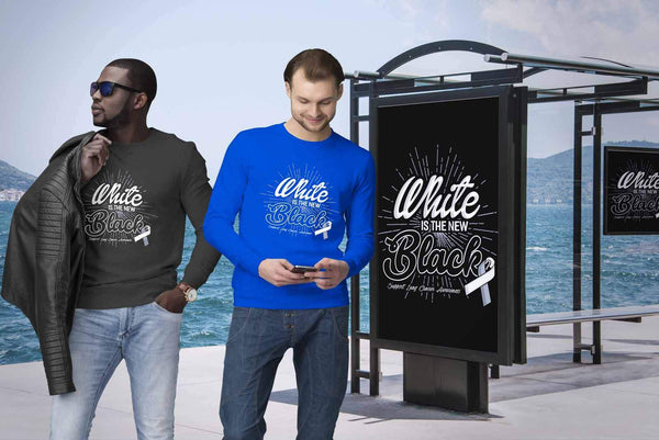 White Is The New Black Support Lung Cancer Awareness Gift Sweater-T-shirt-JoyHip.Com